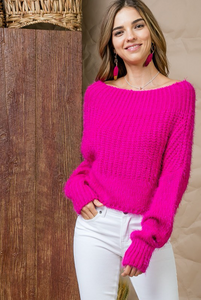 Flower in the Snow Off-Shoulder Sweater (bright pink) front view
