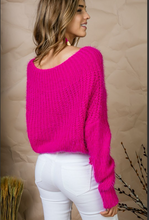 Flower in the Snow Off-Shoulder Sweater (bright pink) back view