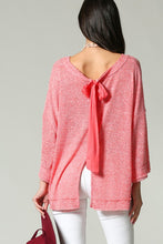 Coral Party-In-Back Spring Sweater (full back showing bow)