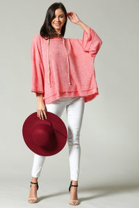 Party-In-Back Spring Sweater - Coral
