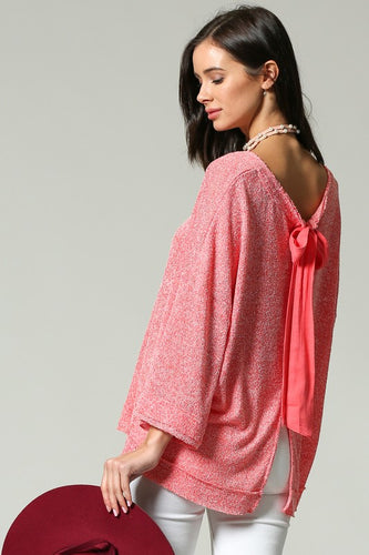 Coral Party-In-Back Spring Sweater (back showing bow)