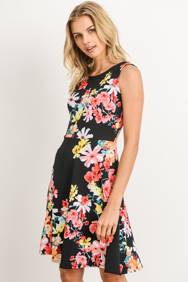 Take Me With You Cassie Dress - Black Floral (front view)