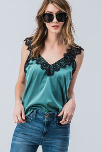 Playing Favorites Lace and Satin Cami - Hunter Green