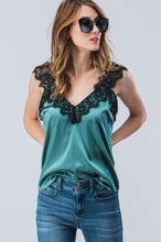 Playing Favorites Lace and Satin Cami - Hunter Green (2)