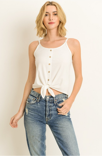 Keep It Coming Tie-Front Cami - Ivory