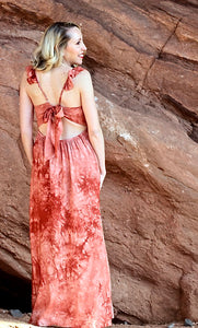 Red Rocks Tie Dye Maxi Dress - Rust (back view)
