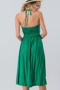 Feel'n Lucky Dress (Green) back with smocking