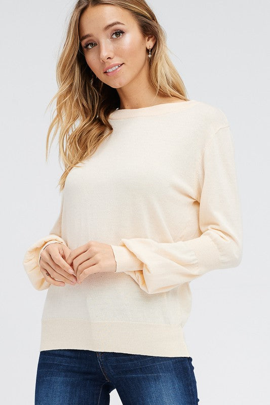Peaches and Cream Long-Sleeve Sweater (front)