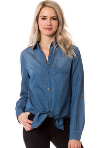 Always Ready Long Sleeve Tie-Front Shirt - Denim Blue