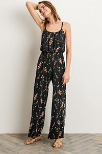 Black Floral Knit Spaghetti Strap Jumpsuit (front).png