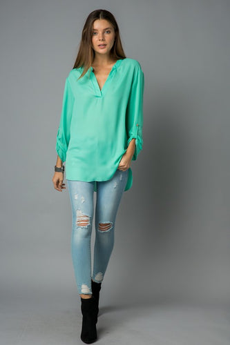 Loving Life Pullover Top - Brilliant Mint (full view)