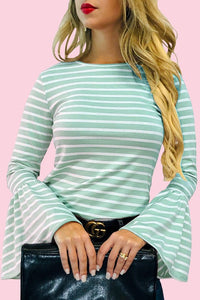 Going Places Bell-Sleeve Top - Mint/White (front, tucked in)