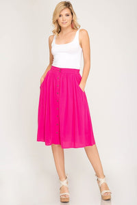 Think'n In Pink Midi Skirt - Hot Pink (front)
