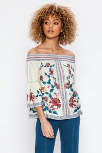 Santa Barbara Off-Shoulder Top (Ivory) front