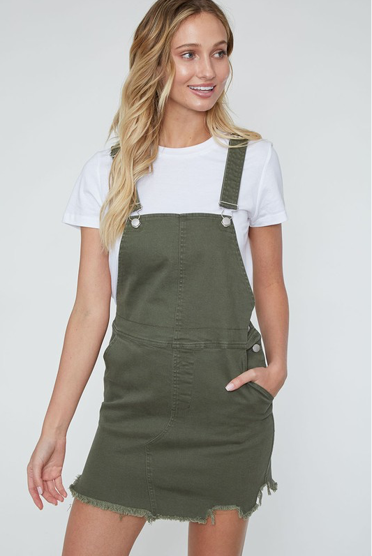 Out for Fun Bib Overall Olive Denim Dress (front)