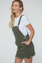 Out for Fun Bib Overall Olive Denim Dress (side)
