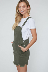 Out for Fun Bib Overall Olive Denim Dress (side2)