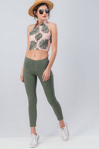 Running Around Like Crazy Skinny Pant - Olive (front vaca2)