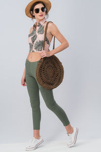 Running Around Like Crazy Skinny Pant - Olive (front vaca3)