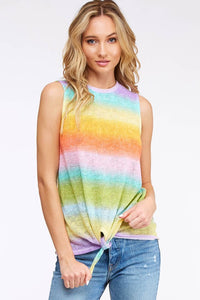 Rainbow Trails Sleeveless Top - front