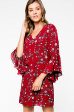 Burgundy and floral dress with bell sleeves- front-view