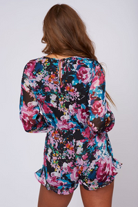 Feeling Exotic Floral Romper – Black, Purple, Turquoise (back).png
