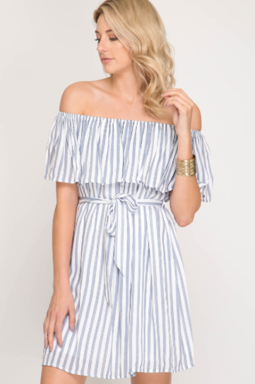 7436cd140487 Now That s Freedom! Off-Shoulder Striped Short Dress - White Blue ...