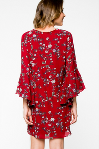 Burgundy and floral dress with bell sleeves- back-view