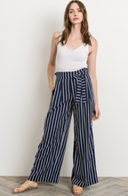 Meet Me For Brunch Jessica Pant - Navy and White Stripes (front view)