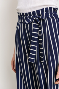 Meet Me For Brunch Jessica Pant - Navy and White Stripes (close up view)