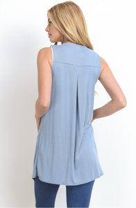 Go Anywhere, Do Anything Annabelle Vest - Dusty Blue (back view)
