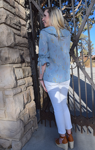 Field of Wildflowers Lucy Blouse - Sky Blue (back view with white pants)