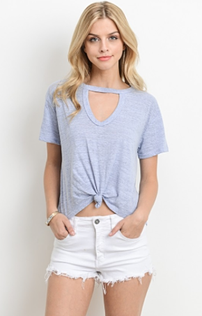 Knot Your Average Tee, knot tie front, keyhole neckline, front view