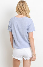 Knot Your Average Tee, knot tie front, keyhole neckline, back view