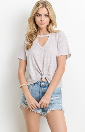 Knot Your Average Tee knot tie front with keyhole neckline in Blush - front view