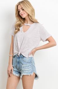 Knot Your Average Tee knot tie front with keyhole neckline in Blush - side view