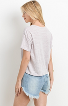 Knot Your Average Tee knot tie front with keyhole neckline in Blush - back view