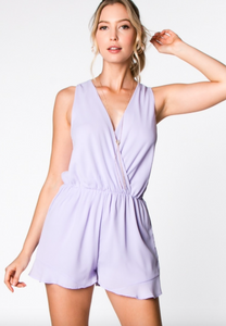 Everly lilac surplice tie-back romper, front view