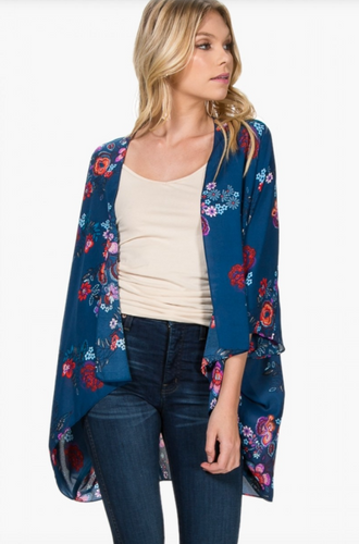 Everly That's a Wrap Teal and Floral Kimono - Front View