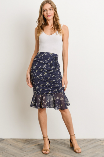 Moonlit Garden Layla Ruched Pencil Skirt - Navy (front view)