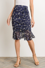 Moonlit Garden Layla Ruched Pencil Skirt - Navy (skirt view front)