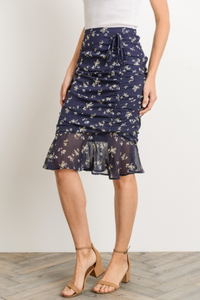 Moonlit Garden Layla Ruched Pencil Skirt - Navy (side view)
