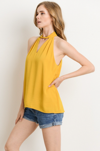 Casual choker and keyhole flowy mustard top