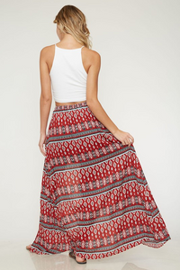 Exploring the World Maxi Skort - Red Tribal Print (back full).png