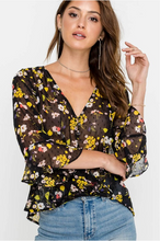 Easy Sheer Floral Top (black and yellow) front.png