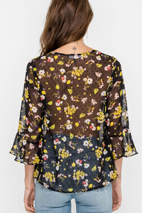 Easy Sheer Floral Top (black and yellow) back.png