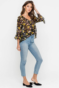 Easy Sheer Floral Top (black and yellow) full body.png