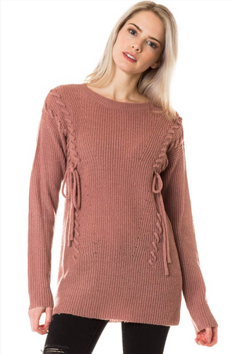 Laced-Up with Love Sweater - Mauve (front)