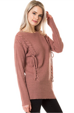 Laced-Up with Love Sweater - Mauve (side)