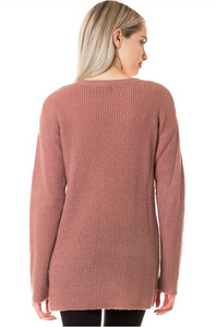 Laced-Up with Love Sweater - Mauve (back)